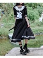 Walking Alone at Night JK Navy Collar Short Lantern Sleeves Dress by Cheese Day