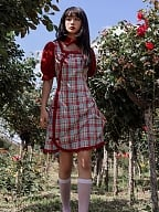 Glaze Red Turndown Collar Short Puff Sleeves Plaid Qi Dress by Cheese Day