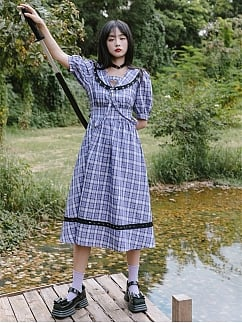 Cradle of Fog JK Navy Collar Short  Sleeves Purple Plaid Dress by Cheese Day