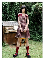 Tobacco Hormone Sweetheart Neckline Plaid Cami Dress by Cheese Day