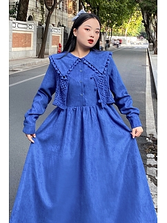 Plus Size Klein Blue Navy Collar Dress with Vest by Cheese Day