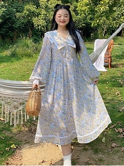 Plus Size Spring Flowers Navy Collar Floral Long Dress by Cheese Day
