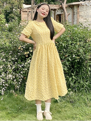 Plus Size Maltose Yellow Floral Long Dress by Cheese Day