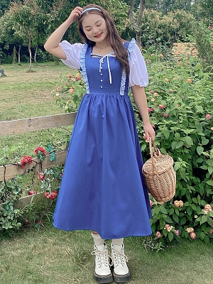 Plus Size Blue Ocean Princess Short Puffy Sleeves Long Dress by Cheese Day