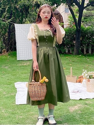 Plus Size Shepherdess Princess Short Puffy Sleeves Long Dress by Cheese Day