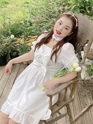 Plus Size Clound Garden Square Neckline Short Puffy Sleeves Dress by Cheese Day