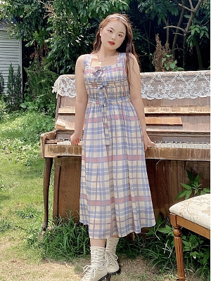 Plus Size Midsummer Dream Bowknots Front Plaid Dress by Cheese Day