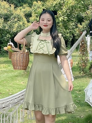 Plus Size Tea Party Ruffled Square Neckline Empire Waist Dress by Cheese Day
