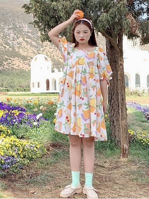 Plus Size Fruit Story Square Neckline Short Puff Sleeves Floral Print Short / Long Dress by Cheese Day
