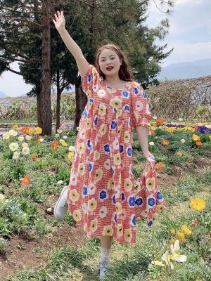Plus Size Heidi Garden Round Neckline 3/4 Sleeves Floral Print Dress by Cheese Day