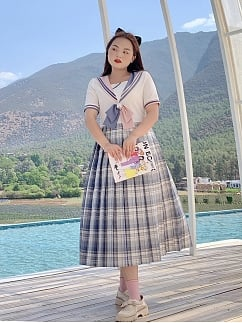 Plus Size Cherry Blue JK Navy Collar Short Sleeves Dress by Cheese Day