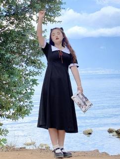 Plus Size Kaguya Ji JK Navy Collar Short Sleeves Dress by Cheese Day