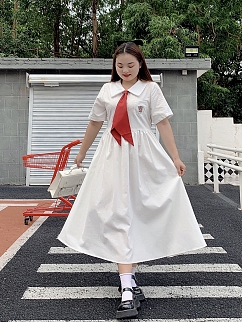 Plus Size Aono JK White / Black Turndown Collar Short Sleeves Dress with Tie by Cheese Day