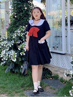 Plus Sizec Earl of the Heart Navy  Collar Short Sleeves Removable Bowknot Dress by Cheese Day