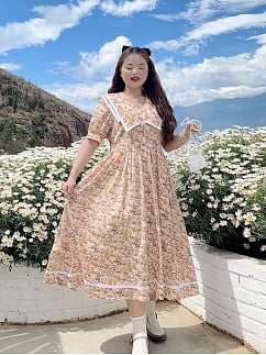 Plus Size Spring Flowers Navy Collar Floral Short Sleeves Floral Print Dress by Cheese Day