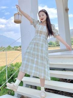 Plus Size Shirakawa Moss Square Neckline Short Puff Sleeves Plaid Dress by Cheese Day