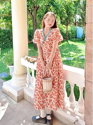 Plus Size Paeonia Among the Flowers V-neck Short Puff Sleeves Floral Print Dress by Cheese Day