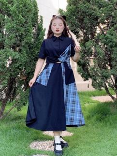 Plus Size Aurora Night Talk Turndown Collor Short Sleeves Irregular Dress by Cheese Day