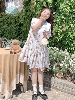 Plus Size Aurora Night Little Bear Family Banquet White Navy Collar Short Sleeves Dress by Cheese Day
