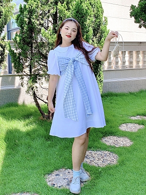 Plus Size Sky Island Cloud Peter Pan Collar Short Puff Sleeves Dress by Cheese Day