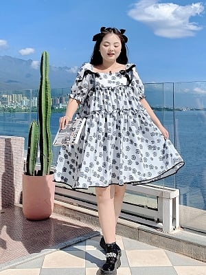 Plus Size White Cherry Blossom Garden Square Neckline Short Sleeves Floral Print Dress by Cheese Day