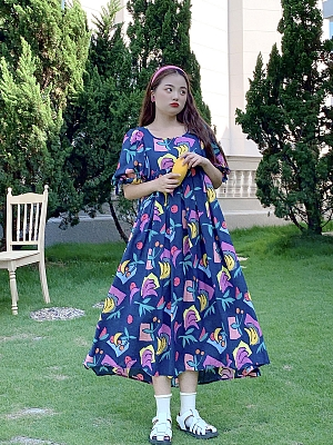 Plus Size Fruit Story Square Neckline Short Puff Sleeves Dress With Scarf by Cheese Day