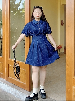Plus Size Heart Earthquake Heart-shaped Short Puff Sleeves Denim Dress by Cheese Day
