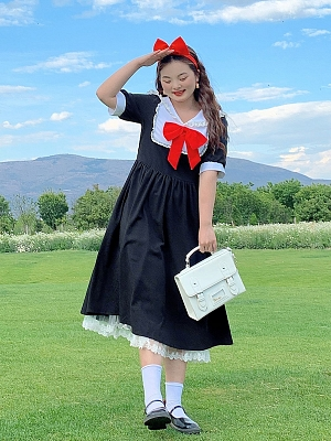 Plus Size Kiki's Delivery Service Navy Collar Short Sleeves Long Dress by Cheese Day