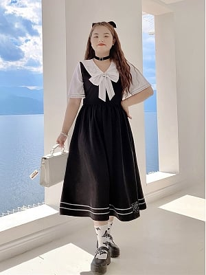 Plus Size Twilight Angel Navy Collar Short Sleeves Long Dress by Cheese Day