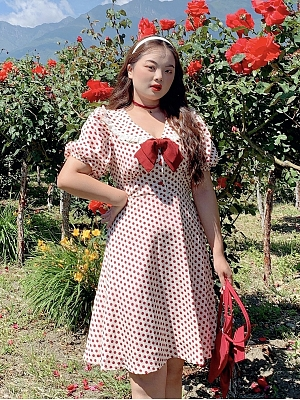 Plus Size Wine Heart Bobo Navy Collar Short Puff Sleeves Dress by Cheese Day