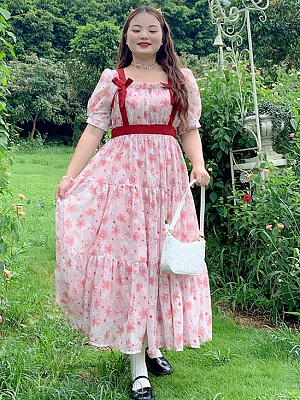 Plus Size Late Spring Short Sleeves Long Floral Dress by Cheese Day