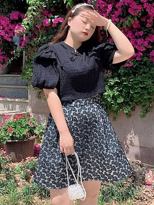 Plus Size Night Short Puff Sleeves Black Top / Floral Skirt Set by Cheese Day
