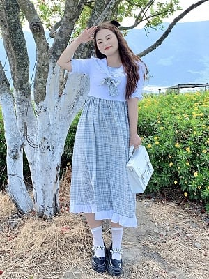 Plus Size Grayscale Time Difference Navy Collar Short Sleeves Plaid Dress by Cheese Day