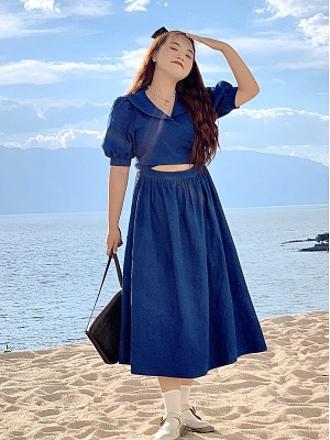 Plus Size Know the Sea Navy Collar Short Sleeves Denim Dress by Cheese Day