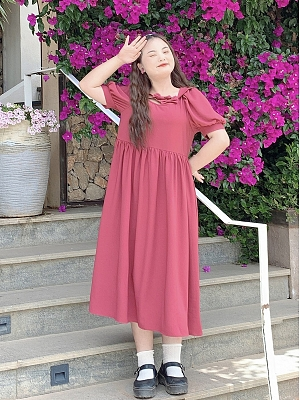 Plus Size Raspberry Pine Peach Navy Collar Short Puff Sleeves Long Dress by Cheese Day