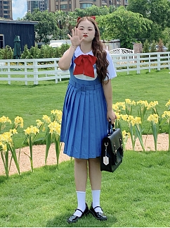 Plus Size Ice Bear Club Peter Pan Collar Short  Sleeves Fake Two-pieces Pleated Dress by Cheese Day