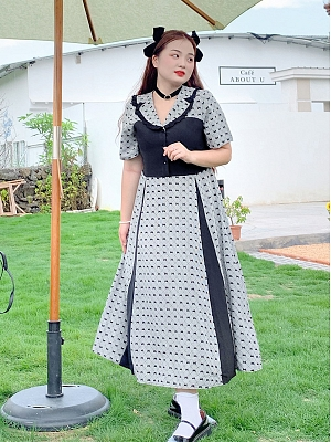 Plus Size Lanxi Town Navy Collar Short Sleeves Plaid Long Dress by Cheese Day