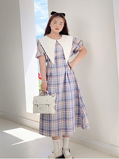 Plus Size Lullaby Pointed Collar Short Sleeves Plaid Long Dress by Cheese Day