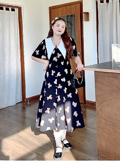 Plus Size Soft Cute Bear Pointed Collar Short Sleeves Long Dress by Cheese Day