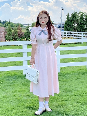 Plus Size Taboo Girl Peter Pan Collar Short Lantern Sleeves Dress by Cheese Day