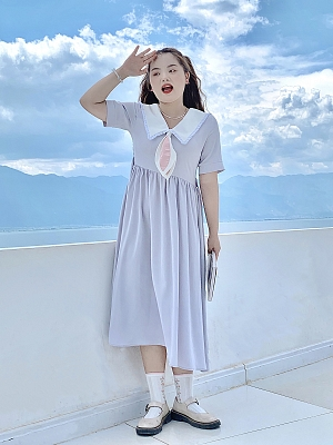 Plus Size Milk Rabbit Candy Navy Collar Short Sleeves Dress by Cheese Day