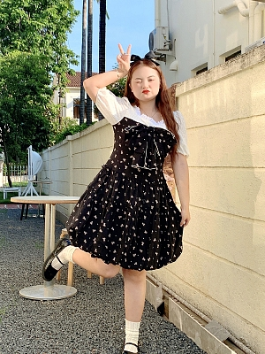 Plus Size Little Bear Cooking Snow Square Neckline Short Puff Sleeves Short Dress by Cheese Day