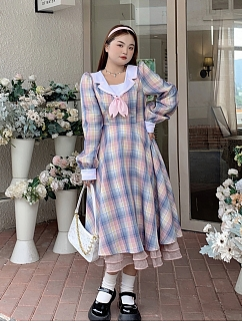 Plus Size Girl's Mind Navy Collar Long Sleeves Plaid Long Dress