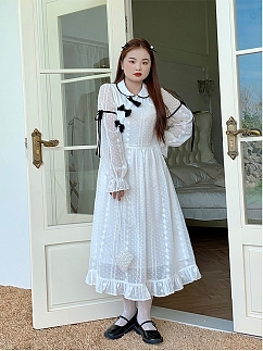 Plus Size Tisu Peter Pan Collar Long Sleeves Long Dress