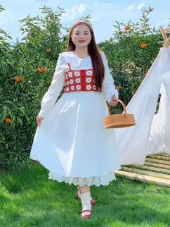 Plus Size Girl's Birthday Peter Pan Collar Long Sleeves Long Dress / Cami Top Set