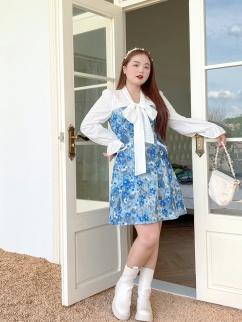 Plus Size Symphony Garden Lantern Sleeves Jacquard Short Dress