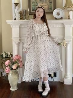 Plus Size Late Autumn Square Neckline Long Sleeves Floral Print Long Dress