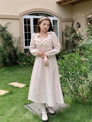 Plus Size Shrimp Powder Floral Card Square Neckline Long Sleeves Floral Print Long Dress