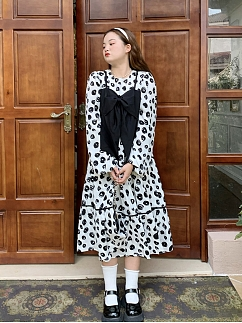 Plus Size Spring Days are Getting Longer Long Sleeves Bowknot Decorative Long Dress