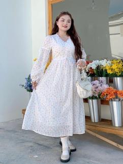 Plus Size Irish Girl V-neck Long Sleeves Long Dress